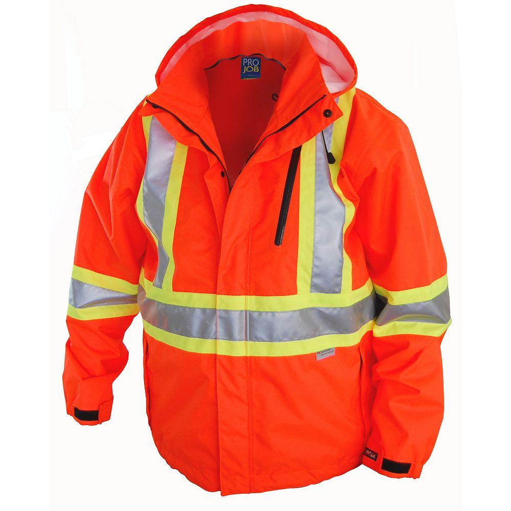 Projob Swedish Workwear CSA High Visibility Wind and Waterproof Rain Jacket - Orange - S