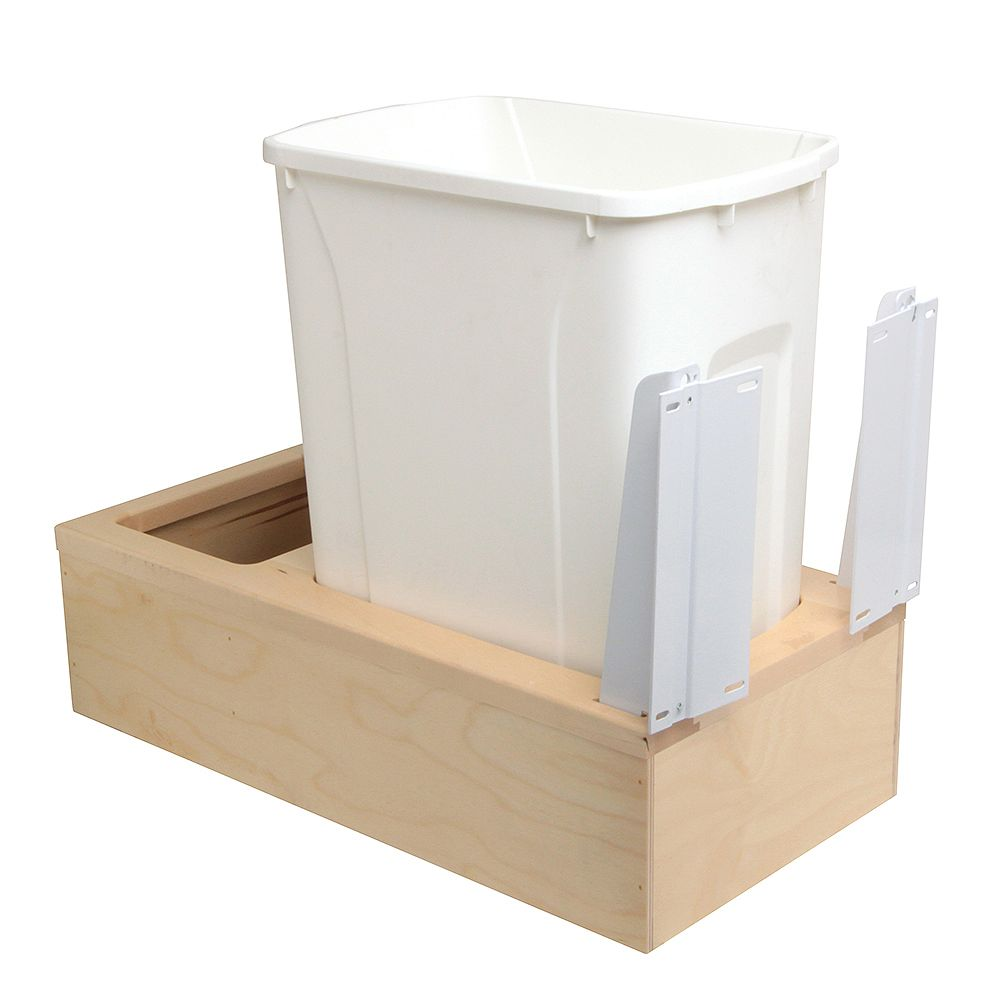 Knape & Vogt 11-1/4 In. x 22-3/8 In. x 19-1/4 In. Undermount 35 QT. Soft-Close Single Trash Can