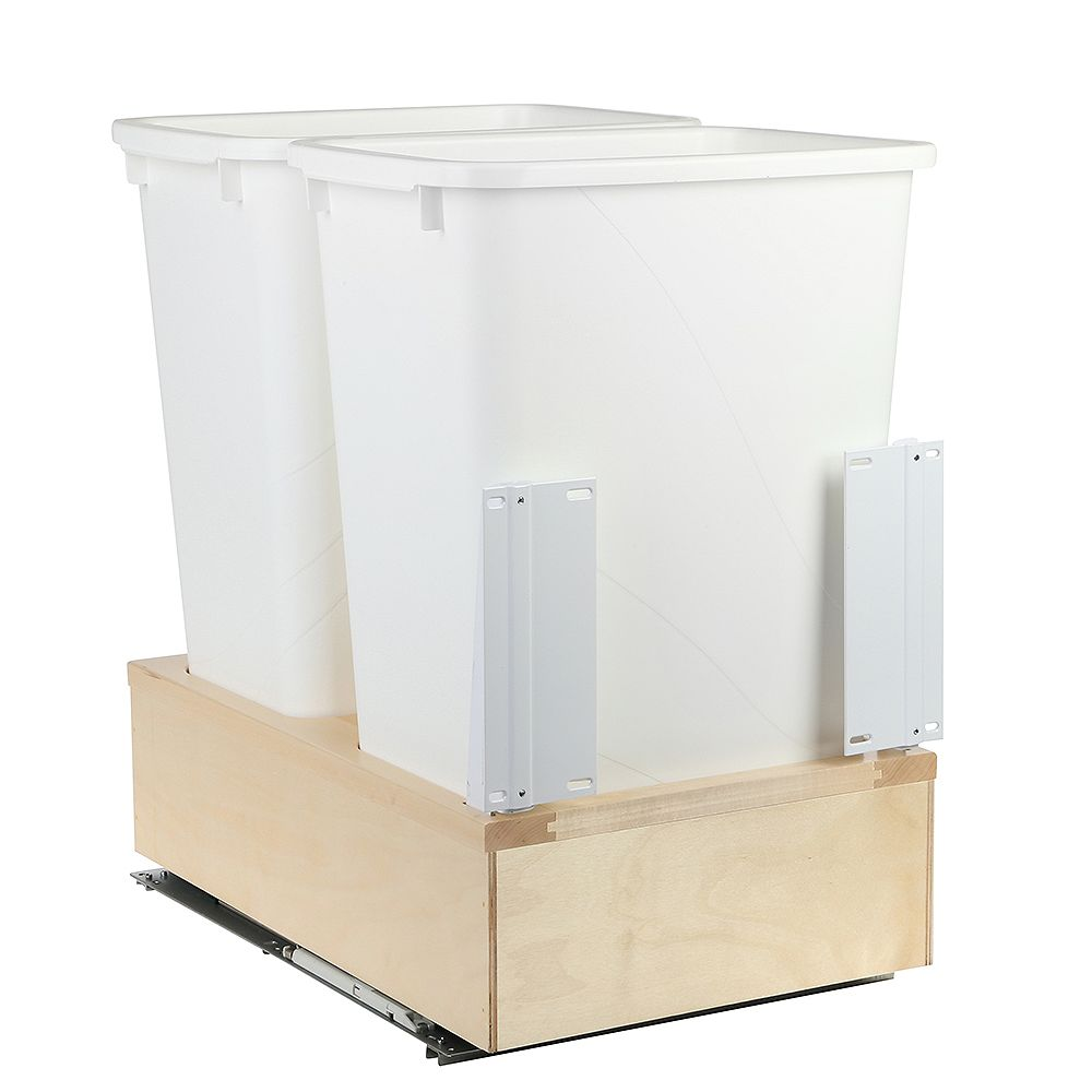 Knape & Vogt 16-7/8 In. x 22-7/16 In. x 23-1/32 In. Undermount 50 QT. Soft-Close Double Trash Cans