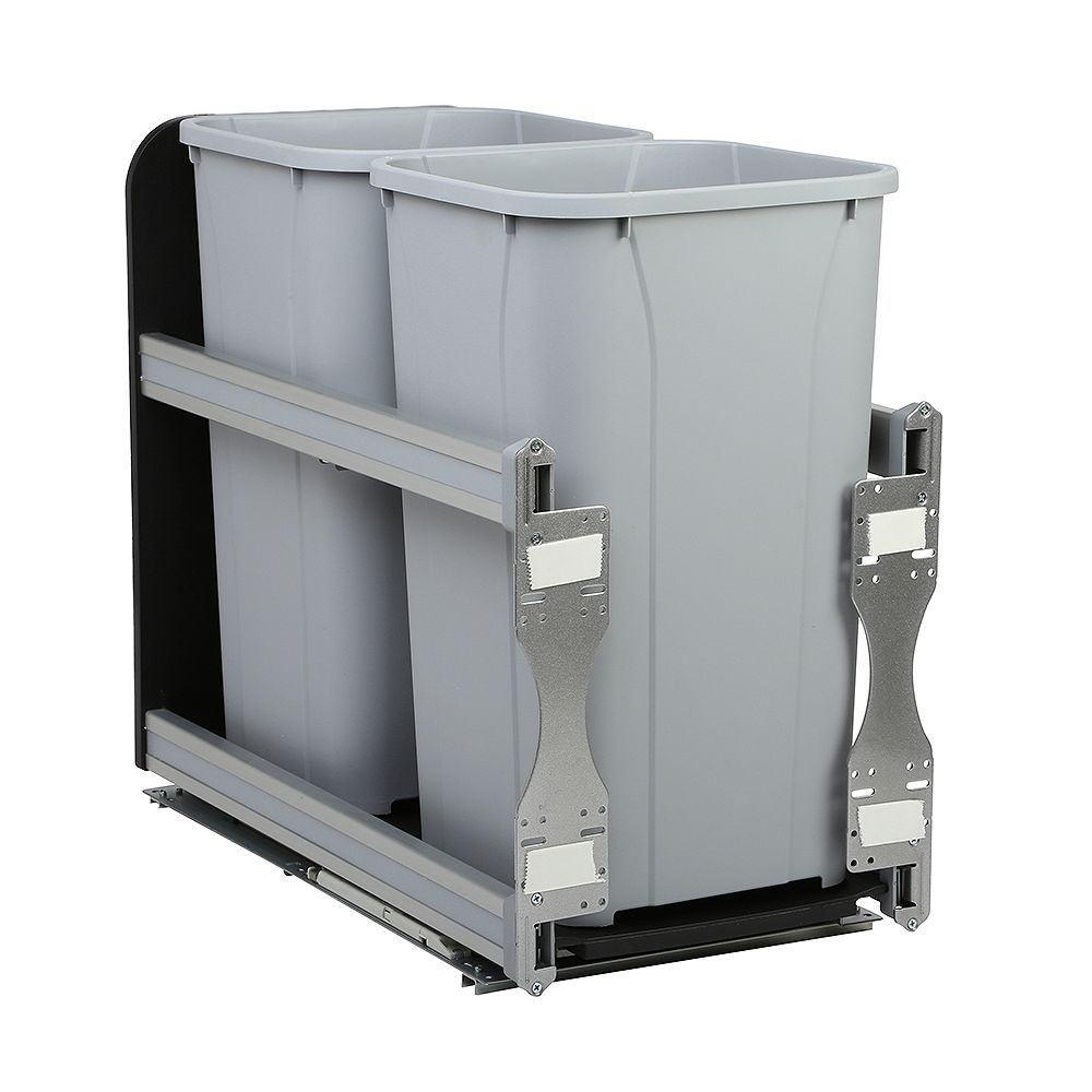 Knape & Vogt 11-13/16 In. x 22-7/16 In. x 19-1/2 In. In-Cabinet 27 QT. Soft-Close Double Trash Cans