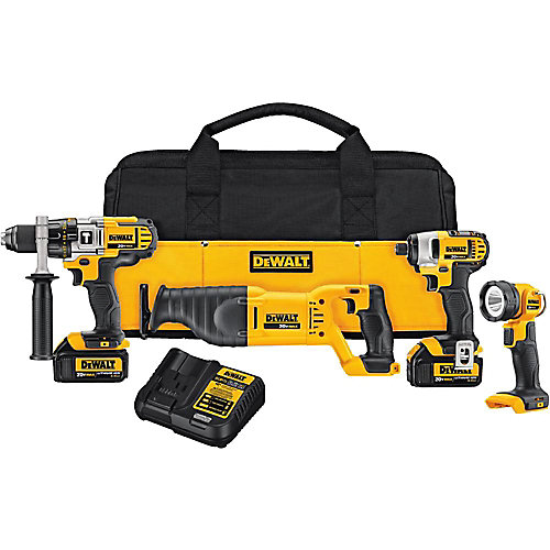 20V MAX Lithium-Ion Cordless Combo Kit (4-Tool) with (2) Batteries 3Ah, Charger and Contractor Bag