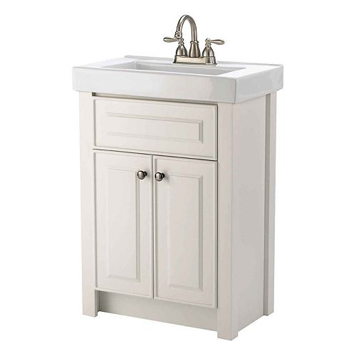 Keystone 24-inch W 2-Door Freestanding Vanity in White With Ceramic Top in White