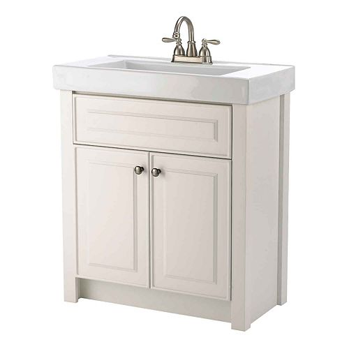 Keystone 30.25-inch W 2-Door Freestanding Vanity in White With Ceramic Top in White