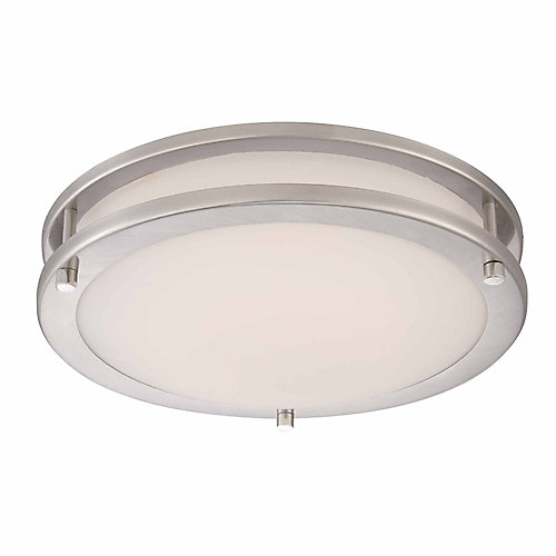 11.8-inch 120-Watt Equivalent Brushed Nickel Integrated LED Low-Profile Flush Mount with Frosted White Glass Shade