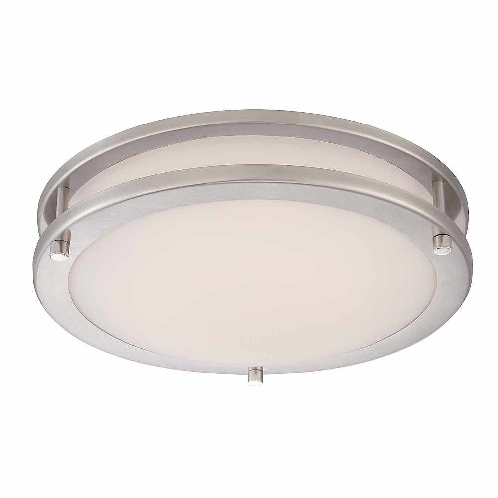 12.12-inch 12-Watt Equivalent Brushed Nickel Integrated LED Low-Profile  Flush Mount with Frosted White Glass Shade