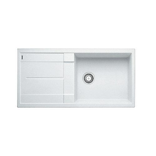 METRA X, Single Bowl Drop-in Kitchen Sink with Drainboard, SILGRANIT White