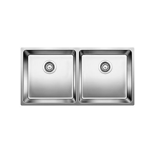 Blanco ANDANO U 2, Equal Double Bowl Undermount Kitchen Sink, Stainless Steel