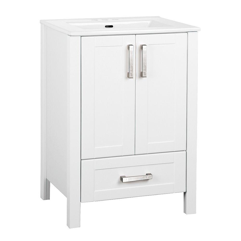 Glacier Bay Delchester 23.6-inch W Vanity Bathroom Cabinet in White