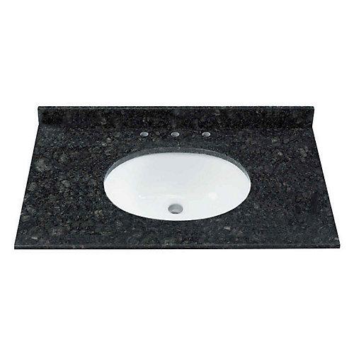 37-inch W Natural Granite Vanity Top in Black/Green