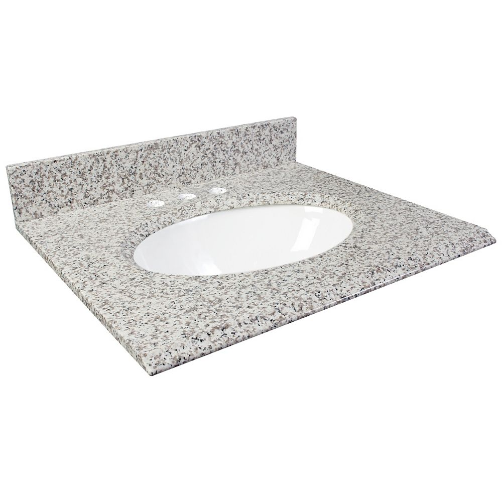 Foremost 25-Inch W x 22-Inch D Granite Vanity Top in White Ash