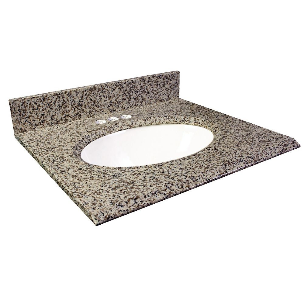 Foremost 25-Inch W x 22-Inch D Granite Vanity Top in Murcia Brown