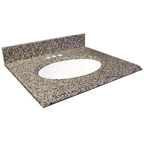 37-Inch W x 22-Inch D Granite Vanity Top in Murcia Brown