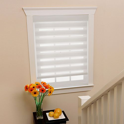 39 in x72in White Zebra Layered Roller Shades