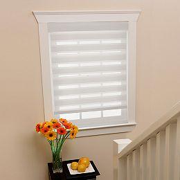 Store à enroulement zèbre diaphanes blanc filtres de lumière, taillée sur mesures de 54 po x 72 po