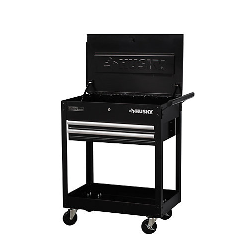 28-inch W x 16.3-inch D 2-Drawer Utility Cart with Lift-Top