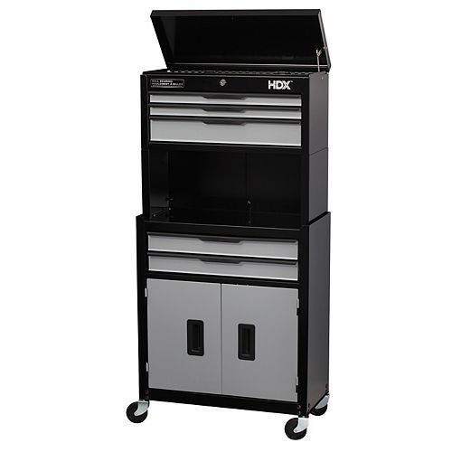 5-Drawer 2-Door Mobile Tool Chest and Cabinet Combo in Black and Grey