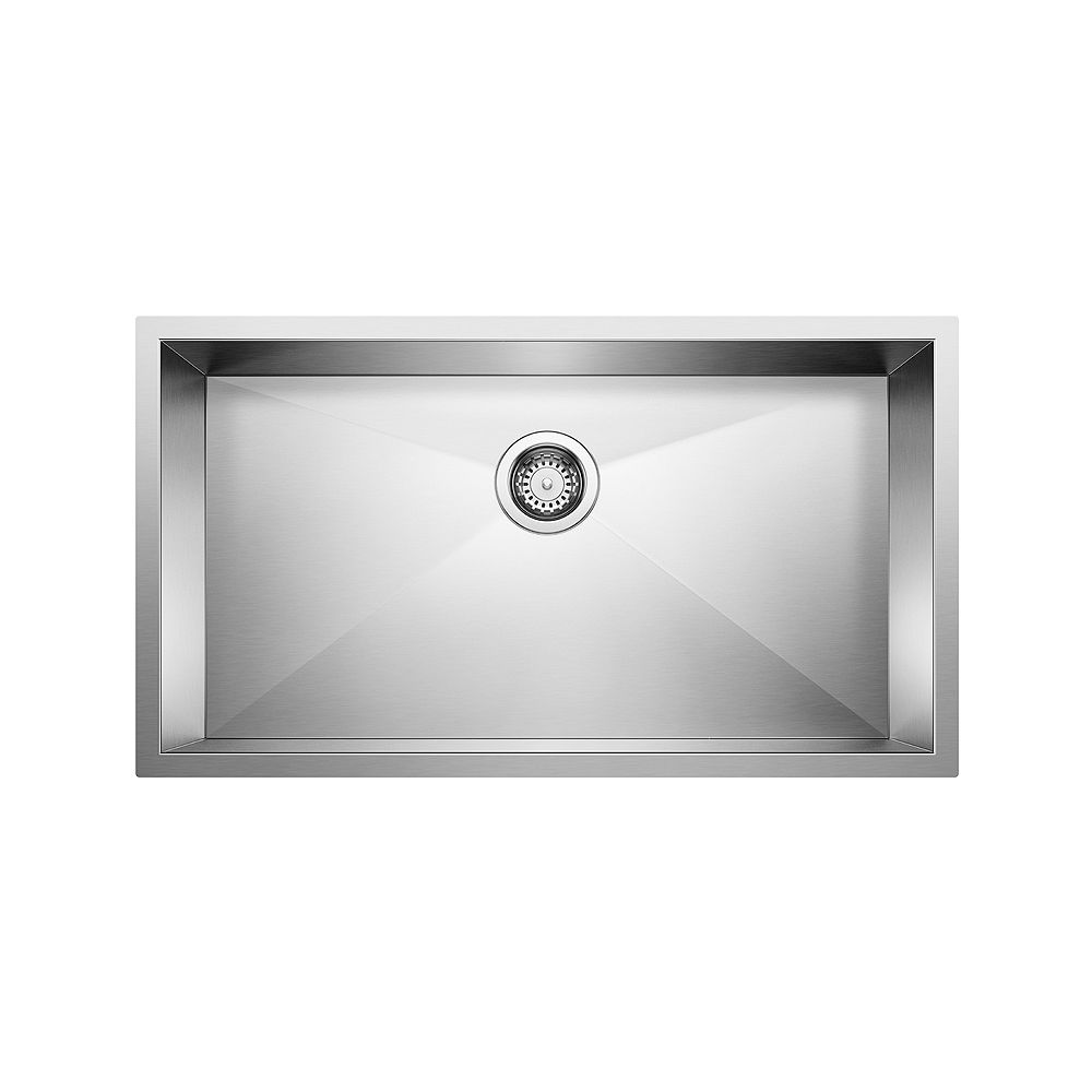 Blanco QUATRUS U SUPER SINGLE, Large Single Bowl Undermount Kitchen Sink, Stainless Steel