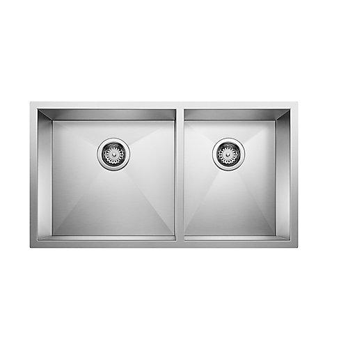 Quatrus U 1 3/4, Stainless Steel Sink, 1.75 Bowls, Undermount