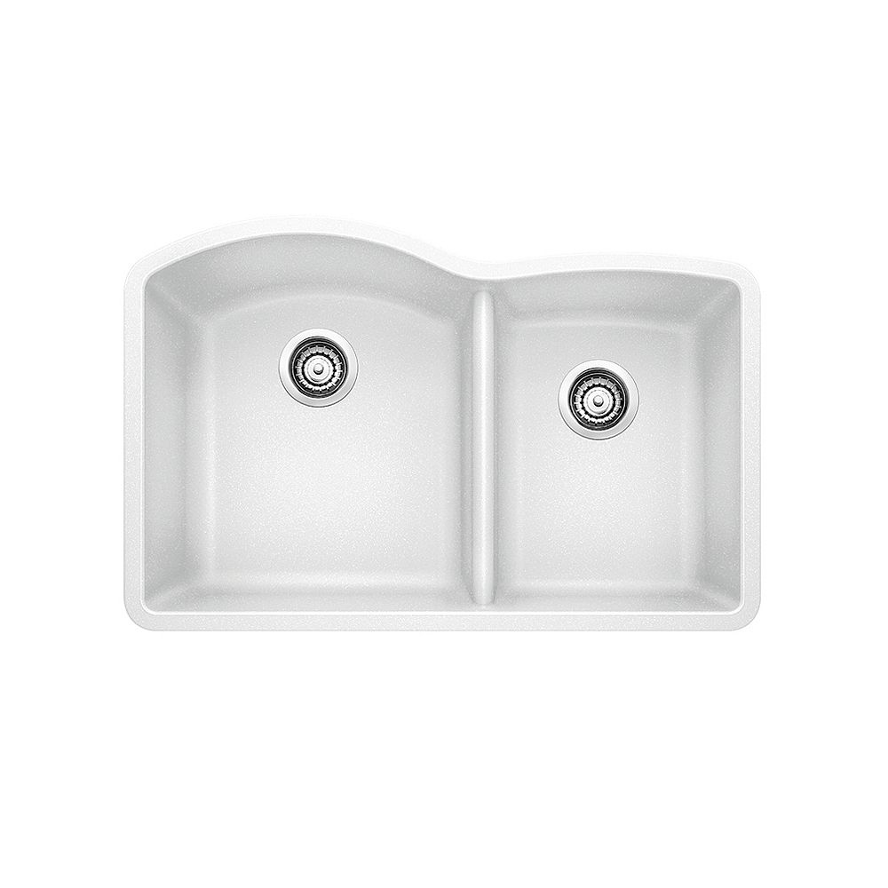 Blanco DIAMOND U 1.75 LOW DIVIDE, Offset Double Bowl Undermount Kitchen Sink, SILGRANIT White