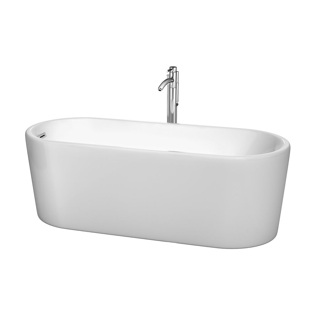 Wyndham Collection Ursula 5 Feet 6-Inch Freestanding Bathtub in White with Chrome Faucet
