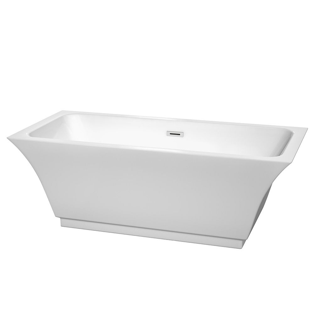 Wyndham Collection Galina 67-inch Acrylic Flat-Bottom Centre Drain Soaking Tub in White with Polished Chrome Trim