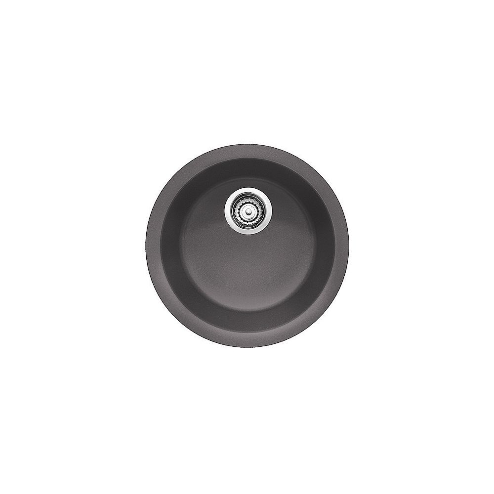 Blanco BLANCORONDO, Round Single Bowl Drop-in Kitchen Sink, SILGRANIT Cinder