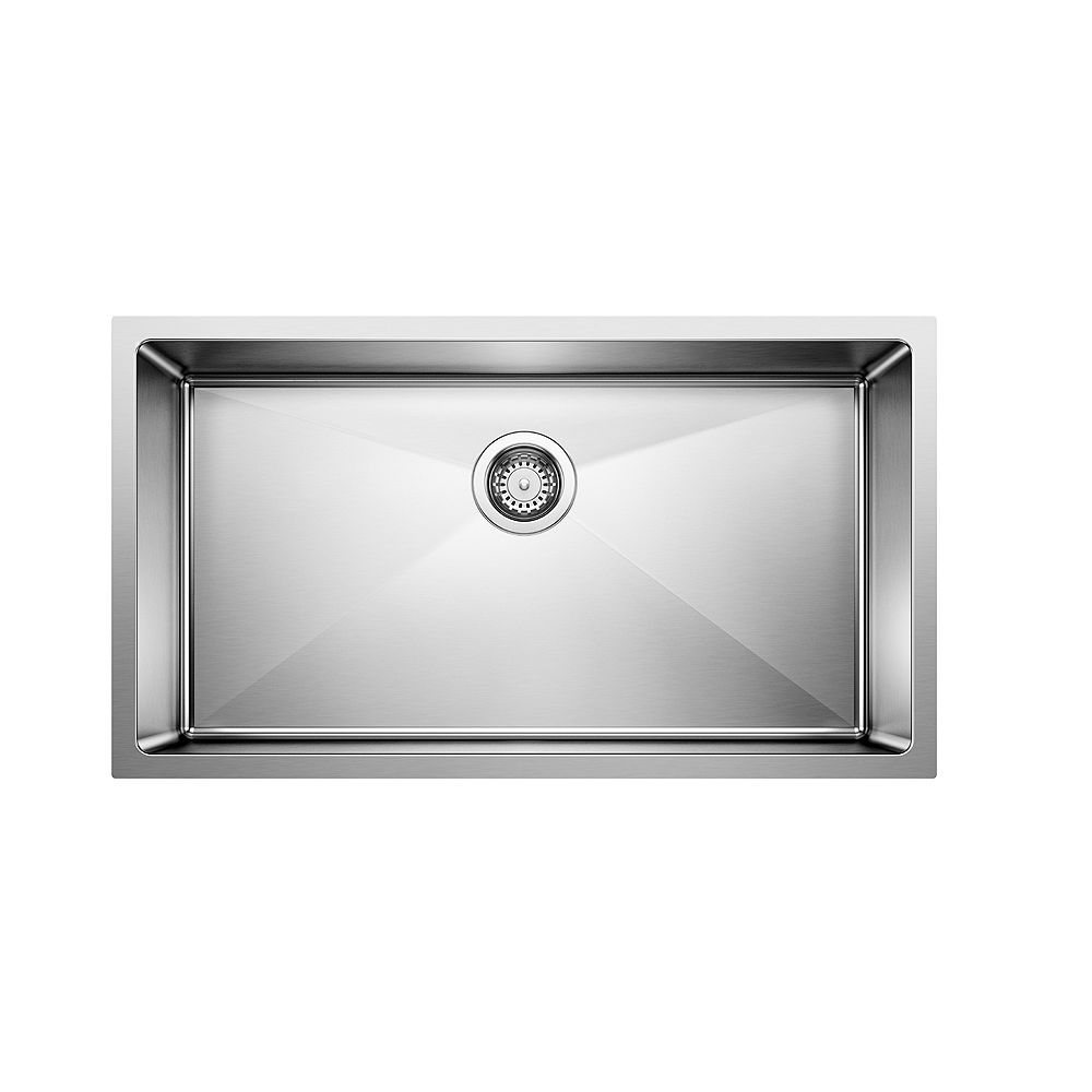 Blanco Quatrus R15 U Super Single Undermount Large Single Bowl Kitchen Sink in Stainless Steel