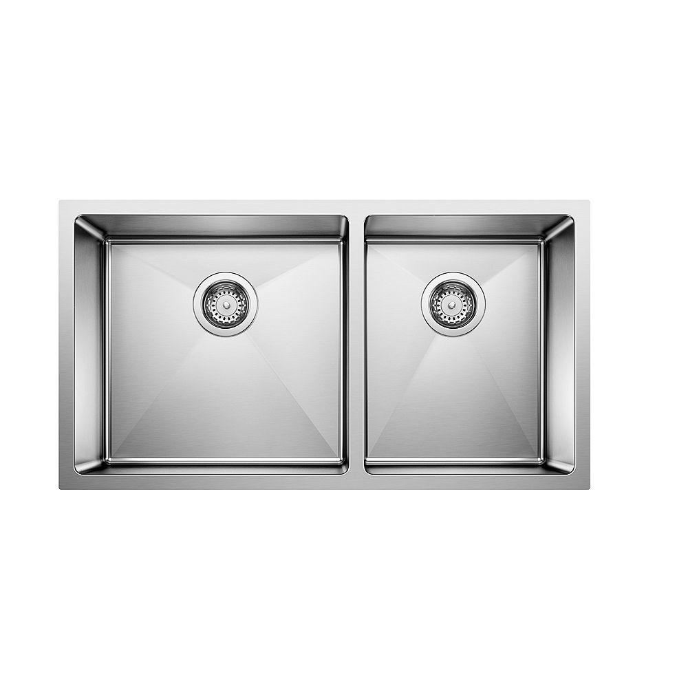 Blanco QUATRUS R15 U 1.75, Offset Double Bowl Undermount Kitchen Sink, Stainless Steel