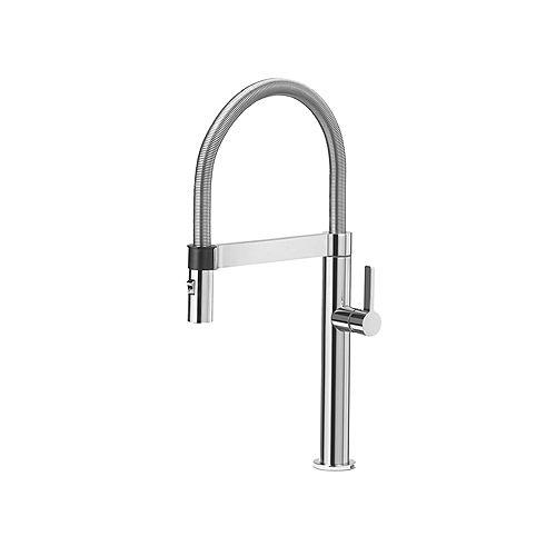 BLANCOCULINA MINI, Semi-professional Pull-down Kitchen Faucet, 2.2 GPM (Dual-spray), Classic Steel
