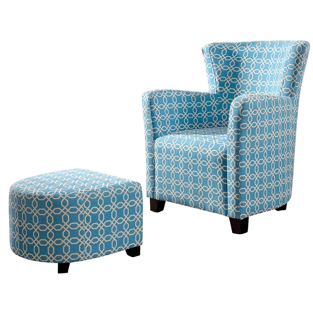!nspire Lizzi-Club Chair W/Ottoman-Blue