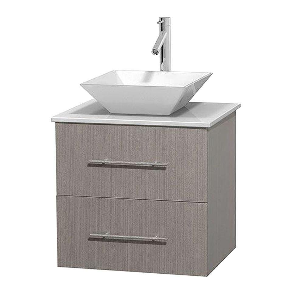 Wyndham Collection Centra 24-inch W 1-Drawer 1-Door Wall Mounted Vanity in Grey With Artificial Stone Top in White