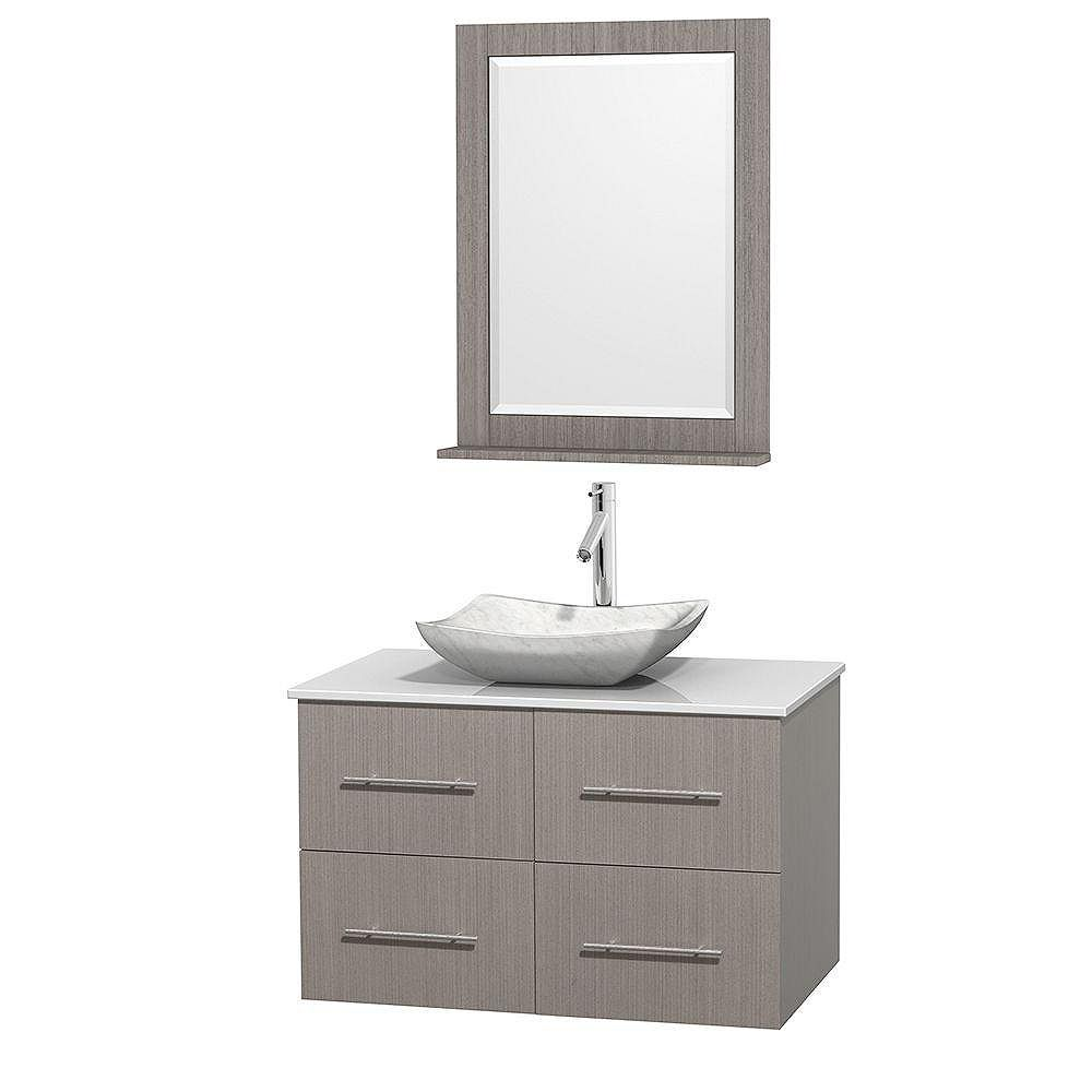 Wyndham Collection Centra 36-inch W 2-Drawer 2-Door Wall Mounted Vanity in Grey With Artificial Stone Top in White