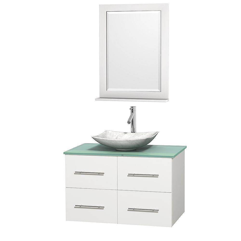 Wyndham Collection Centra 36-inch W 2-Drawer 2-Door Wall Mounted Vanity in White With Top in Green With Mirror