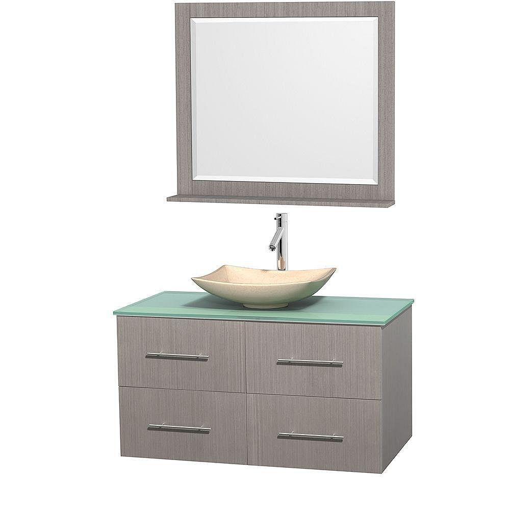Wyndham Collection Meuble simple Centra 42 po. chêne gris, comptoir verre vert, lavabo ivoire, miroir 36 po.