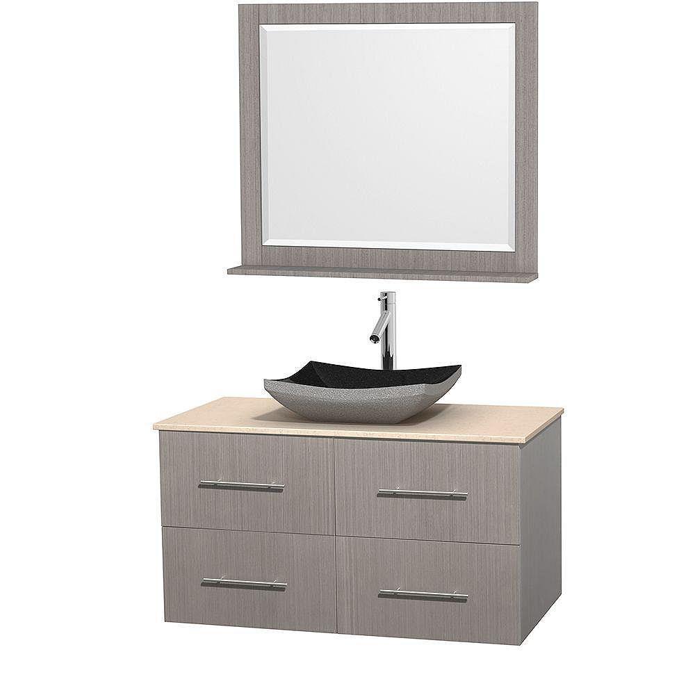 Wyndham Collection Meuble simple Centra 42 po. chêne gris, comptoir marbre ivoire, lavabo granit noir, miroir 36 po.
