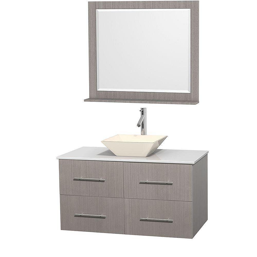 Wyndham Collection Meuble unique Centra 42 po. chêne gris, comptoir solide, lavabo porcelaine bone, miroir 36 po.