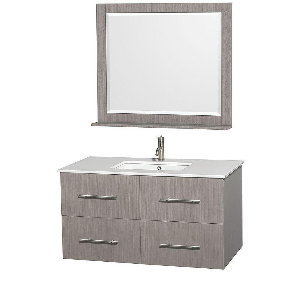 Wyndham Collection Meuble unique Centra 42 po. chêne gris, comptoir solide, lavabo carré, miroir 36 po.