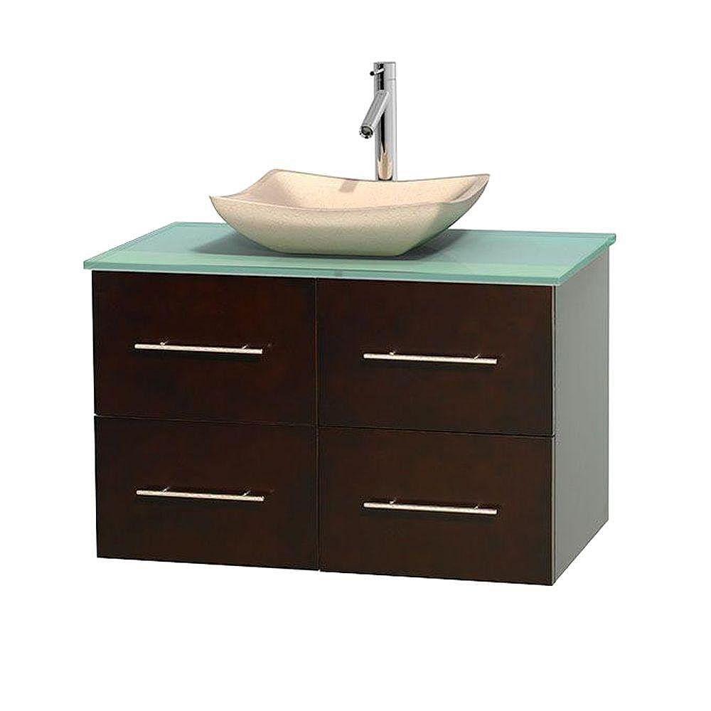 Wyndham Collection Meuble simple Centra 36 po. espresso, comptoir verre vert, lavabo ivoire, sans miroir