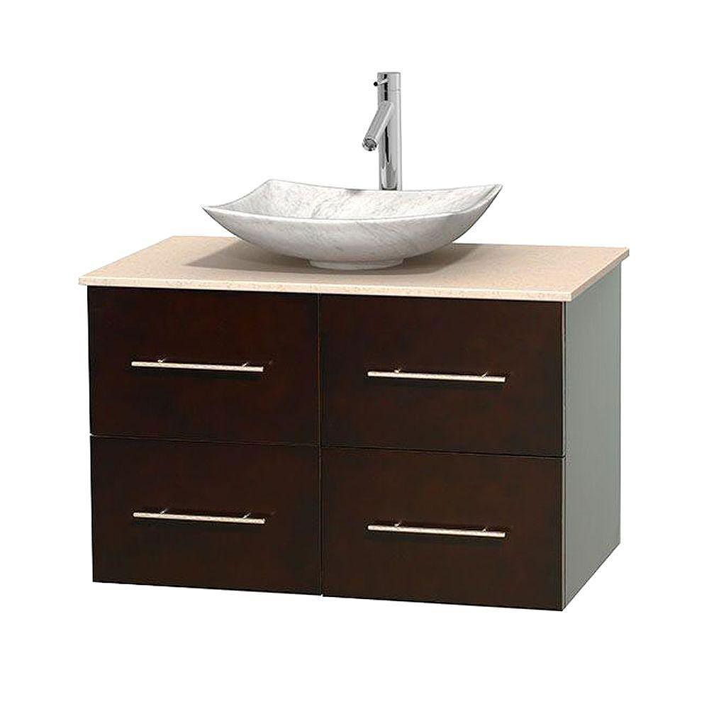 Wyndham Collection Meuble simple Centra 36 po. espresso, comptoir marbre ivoire, lavabo blanc Carrare, sans miroir
