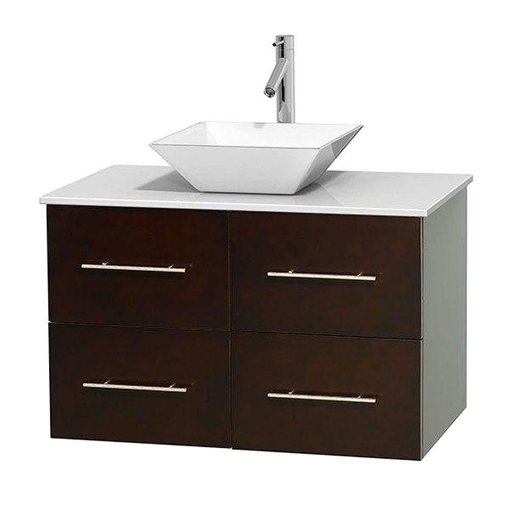 Wyndham Collection Meuble unique Centra 36 po. espresso, comptoir solide, lavabo porcelaine blanche sans miroir