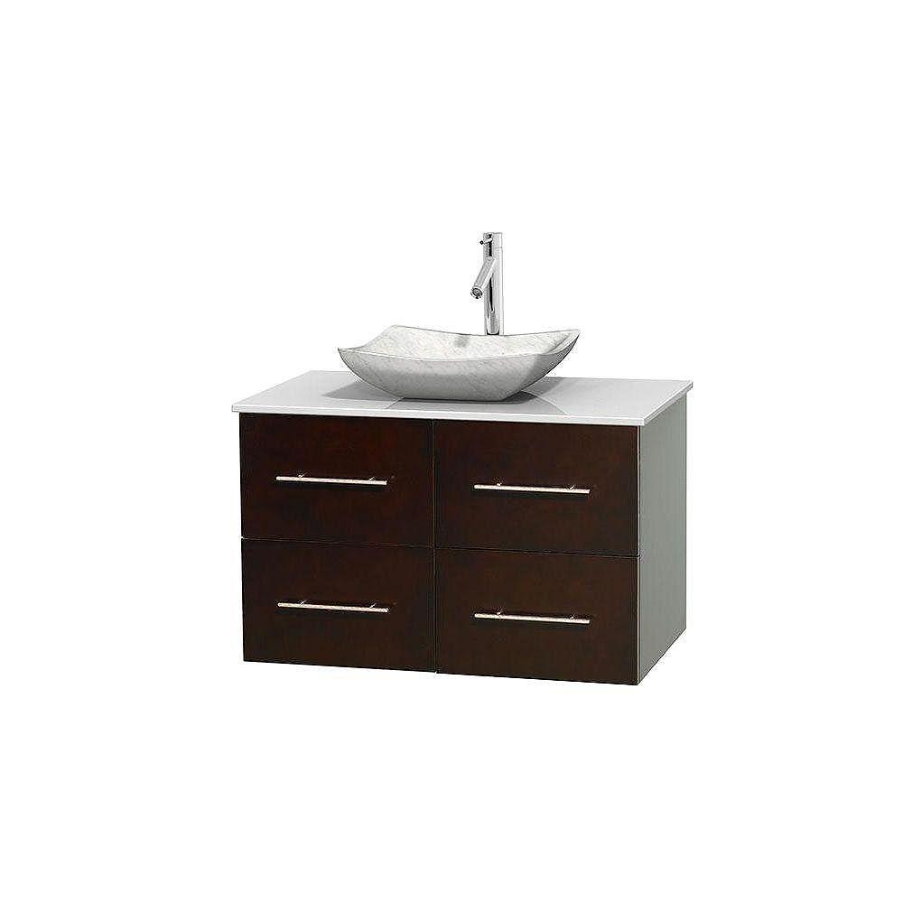 Wyndham Collection Meuble simple Centra 36 po. espresso, comptoir solide, lavabo blanc Carrare, sans miroir