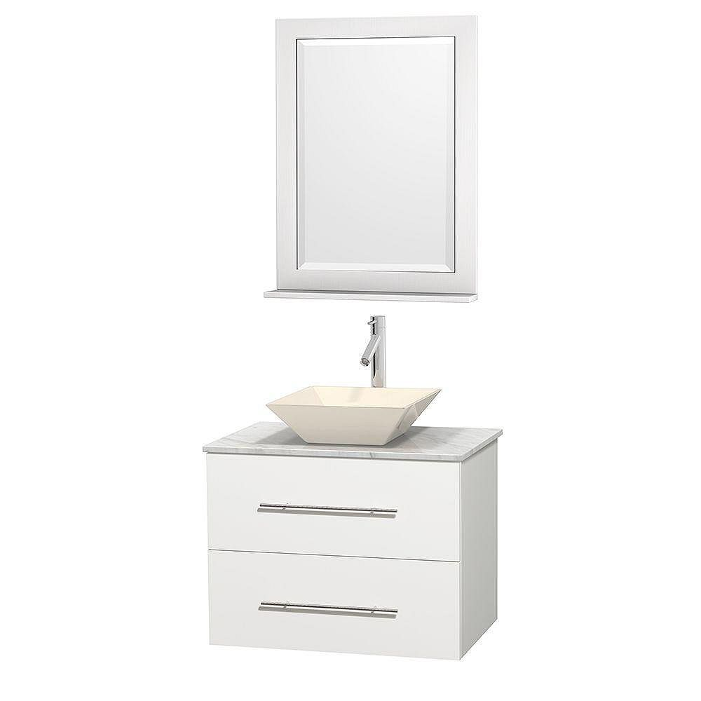 Wyndham Collection Centra 30-inch W 1-Drawer 1-Door Wall Mounted Vanity in White With Marble Top in White With Mirror