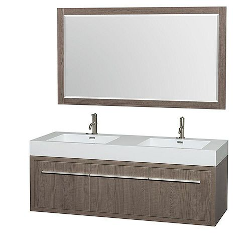 Axa 60-inch W 1-Drawer 2-Door Wall Mounted Vanity in Grey With Acrylic Top in White, Double Basins