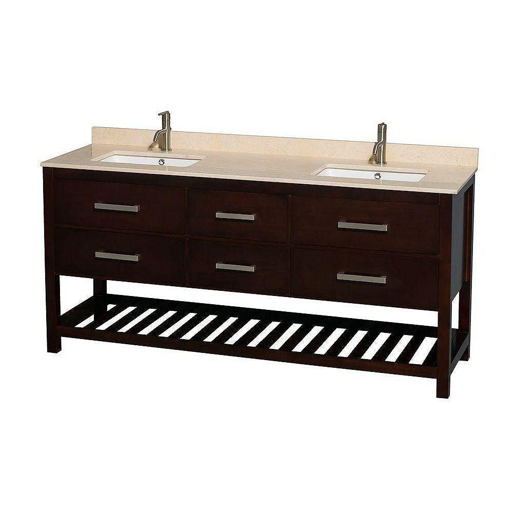 Wyndham Collection Natalie 72-inch W 4-Drawer Freestanding Vanity in Brown With Marble Top in Beige Tan, Double Basins