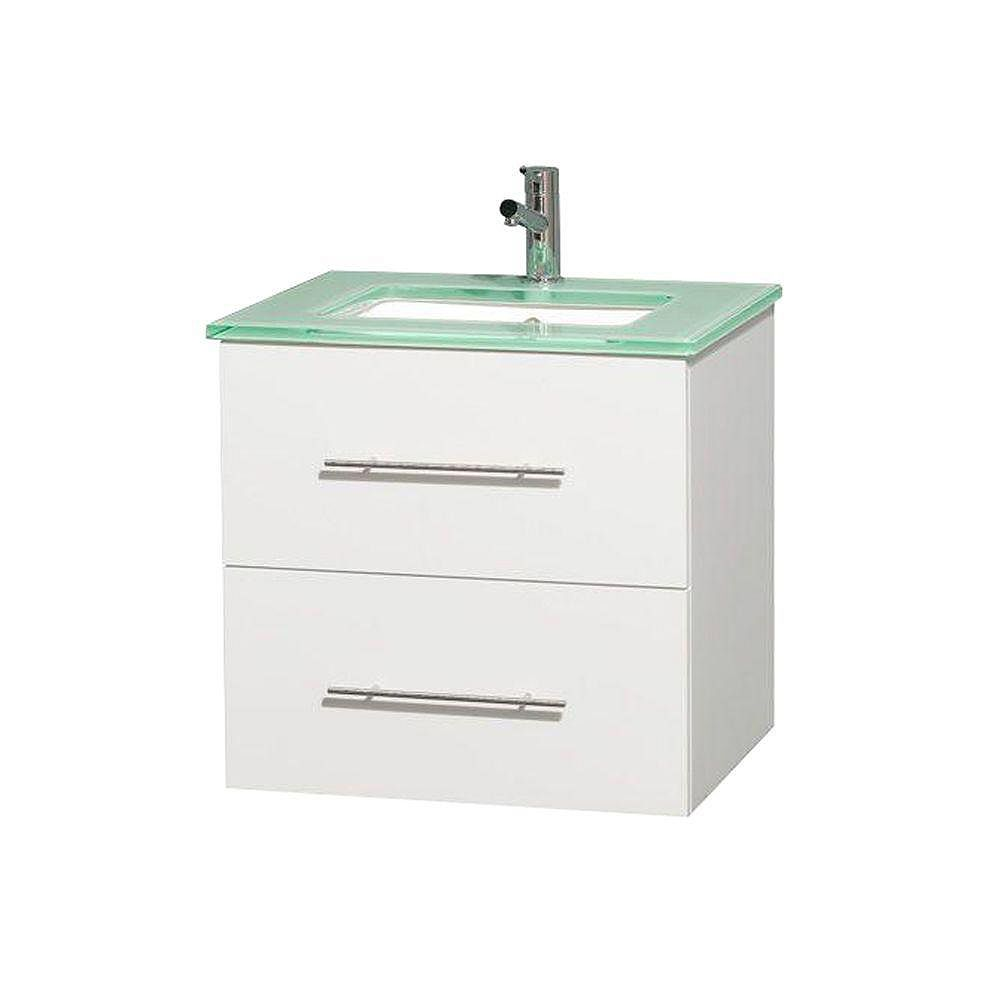 Wyndham Collection Centra 24-inch W 1-Drawer 1-Door Wall Mounted Vanity in White With Top in Green