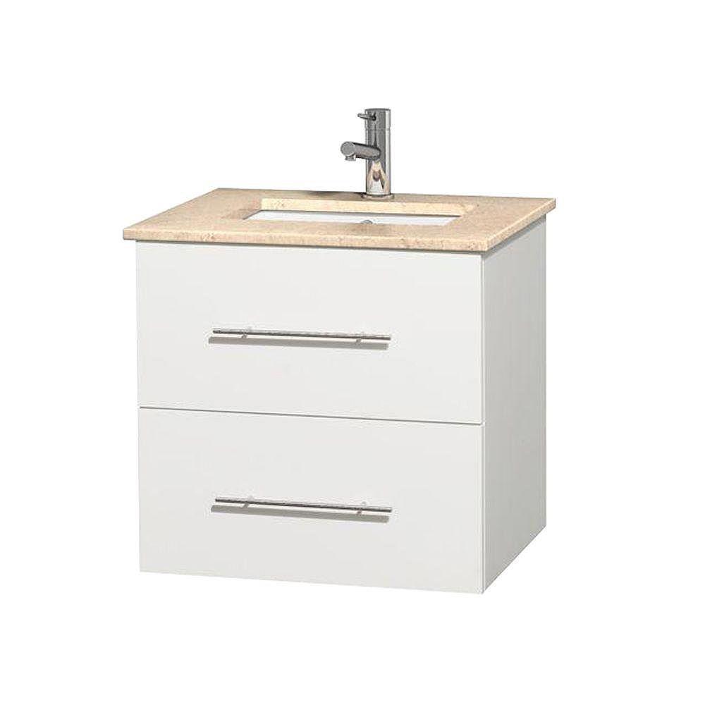 Wyndham Collection Meuble unique Centra 24 po. blanc, comptoir marbre ivoire, lavabo carré sans miroir