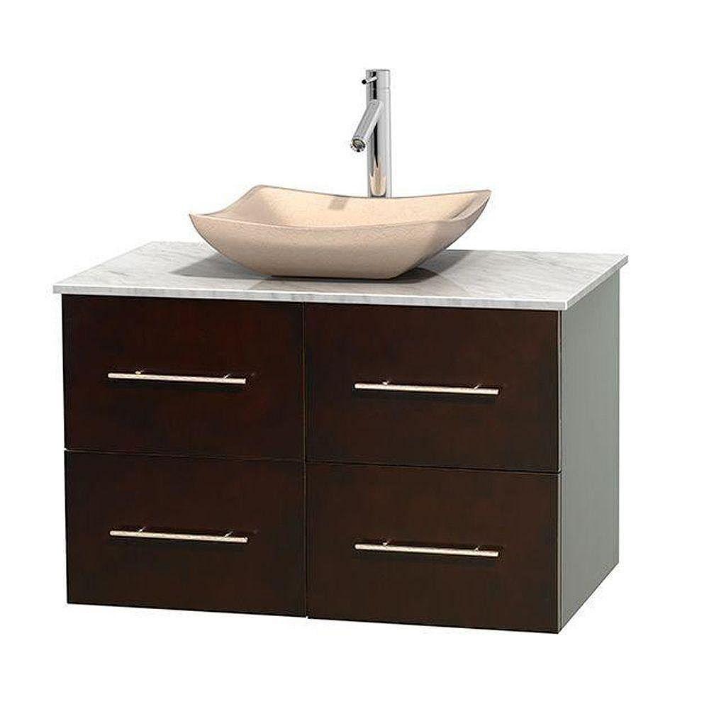Wyndham Collection Meuble simple Centra 36 po. espresso, comptoir blanc Carrare, lavabo ivoire, sans miroir