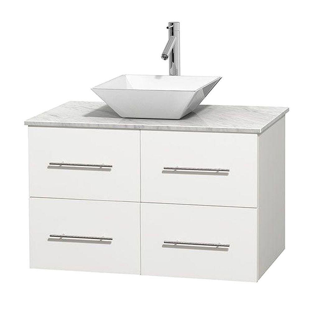 Wyndham Collection Centra 36-inch W 2-Drawer 2-Door Wall Mounted Vanity in White With Marble Top in White