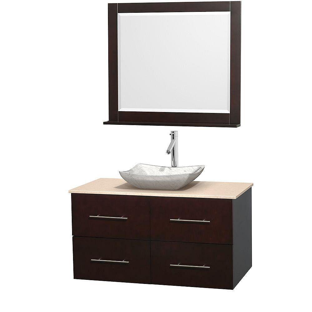 Wyndham Collection Meuble simple Centra 42 po. espresso, comptoir marbre ivoire, lavabo blanc Carrare, miroir 36 po.