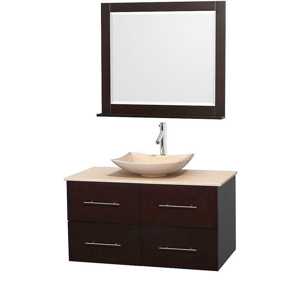 Wyndham Collection Meuble simple Centra 42 po. espresso, comptoir marbre ivoire, lavabo ivoire, miroir 36 po.